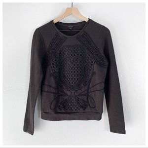 Ann Taylor Black Crochet Detailed Sweatshirt